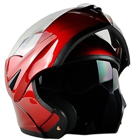 ILM 10 Colors Motorcycle Dual Visor Flip up Modular Full Face Helmet DOT (L, Red) by ILM