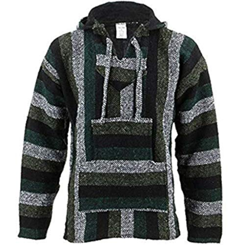 Siesta Mexicano Baja Jerga con capucha hippie jersey - Minty verde - sintético, Minty verde, 50% de acrílico\norigin \n50% algodón 50% algodón 50% de acrílico, Unisex, Large