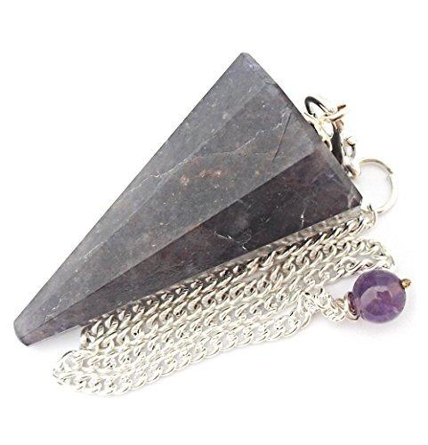 Péndulo cónico de cristal para radiestesia y sanación - gemas naturales genuinas (Iolita)