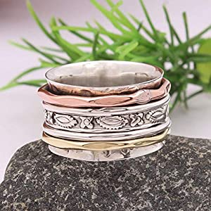 925 Sterling Silver Spinner Band Rings for Women, 925 Sterling Silver Band, Brass and Copper Spinner Ring for Women, Gift Ring for Mother's Day