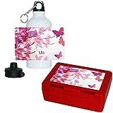 Eurofoto Brotdose + Trinkflasche Set mit Namen Mia und süßem Schmetterling-Motiv für Mädchen | Frühstücks-Set für Schule und Kindergarten | Aluminium-Trinkflasche | Lunchbox | Vesper-Box