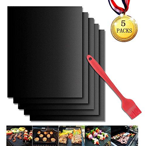 BBQ Grill Matte Set von 5 - Non Stick Ofen Liner Teflon Kochen Matten - perfekt für das Backen auf Gas, Holzkohle, Backofen und Elektrogrills - Wiederverwendbar, Haltbar, Hitzebeständig Barbecue - Grill Toaster-backofen Mit