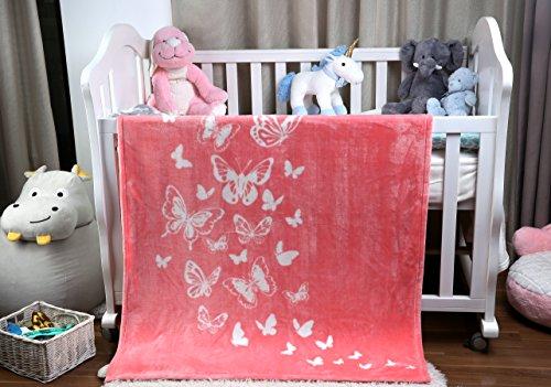 i-baby Baby Neugeborene Mädchen Jungen Decke Babydecke gemütliche Weich Kuscheldecke mit Blumen Unisex 110 x 140 cm Rosa Schmetterling