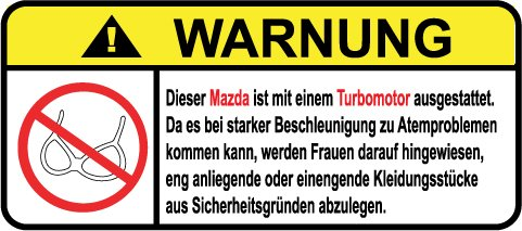 Mazda Turbo Mx3 (Mazda Turbo Motor German Lustig Warnung Aufkleber Decal Sticker)