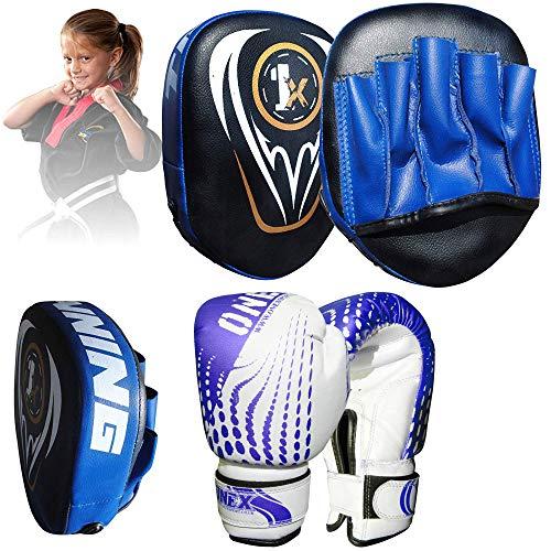 ONEX Set di Pugilato Cuscinetti per Boxe Bambini Workout e Pad combattente sciopero Borsa Boxing Gloves guantoni da punzonatura dei Guanti Lotta MMA Kickboxing Glove 6oz (Blu)