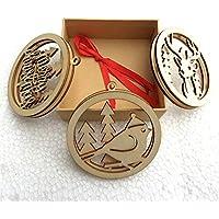Celerhuak 3 Piezas/Set Creux de Navidad Bombilla Madera embellissements Árbol rústico de Navidad Adorno
