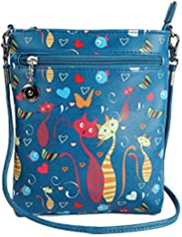 Stylish Multi Color Printed PU Leather Sling Bag For Girls / Women / Ladies 3 Zipper Pocket Cross Body Bag By...