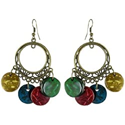 sourcingmap® Dame Vier Farben-Runde Form-Hölzerne Hängende Höhlen Sie Heraus Entwurf Haken Ohrringe Paar