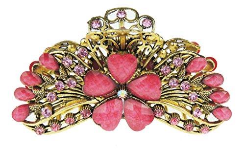 Superbe pour femme Look vintage Doré 9.5 cm en métal Pince à cheveux strass cristal Daisy Fleur