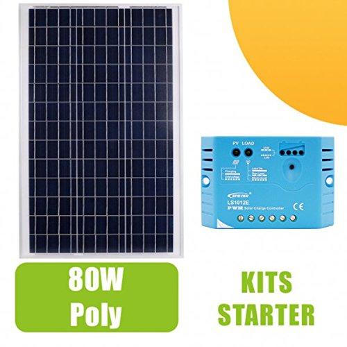 Kit Panel Solar 80W Tipo polycristallin 12V y regulador 10A. para instalaciones solares necesarios para el funcionamiento de luces, una bomba o de cualquier otro dispositivo que se encuentran en un sitio aislado. Composición del kit: 1x Panel Sol...