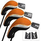 Andux funda de palo de golf para drivers maderas con intercambiable No. etiqueta set de 3 MT/mg06 Negro/naranja