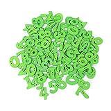 Haorw Knöpfe für Kinder Kinderknöpfe Zahlen geformt Holzknöpfe 100 Stück (Grün)