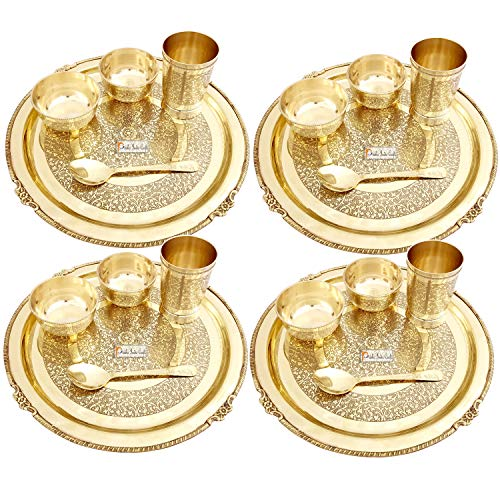 1. Prisha India Craft Embossed Design Pure Brass Dinner Set