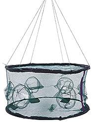Filet Cage Pliable de Pêche Réseaux Maille de Poissons Crevettes Crabe Durables avec Ouverture à Glissière