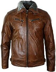 Hommes Washed Rust Tan Brown col en fourrure amovible Veste en cuir slim zippé