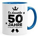MoonWorks Geschenk-Tasse Geburtstag Volljährig Es Dauerte Jahre Um so Gut Auszusehen 18 20 25 30 40 50 60 70 75 80 Jahre Kaffeetasse Teetasse 50 Blau Unisize