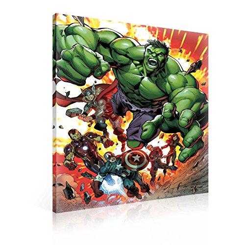 TapetoKids Leinwandbild Marvel Avengers Explosion nach Kampf - M - 60 x 40 cm - Komplettpaket! - fertig gerahmt und inklusive Aufhängung - hochwertige 230g/m² Leinwand auf Keilrahmen - kinderleichte Anbringung