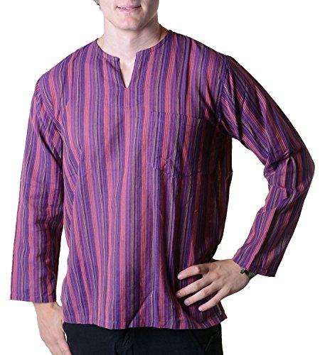 (Fischerhemd Kurtha Gestreift Überzieher Hemd Poncho Mittelalter Nepal, Größe/Size:XL;Farbe:Lila)
