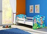 Clamaro 'Fantasia Weiß' 140 x 70 Kinderbett Set inkl. Matratze und Lattenrost, mit verstellbarem Rausfallschutz und Kantenschutzleisten, Design: 32 Ritter