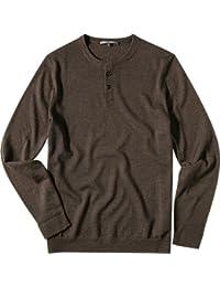 RENÉ LEZARD Herren Pullover Schurwolle Sweater Unifarben, Größe: 54, Farbe: Braun