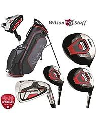 Wilson Prostaff - set completo de 11 piezas de palos de golf con mango de grafito HDX, 4 maderas, 7 hierros, Putter harmanized M1 & Ionix bolsa soporte, para hombres diestros.