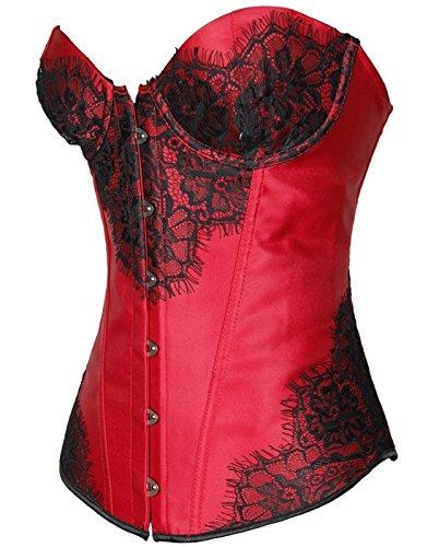 Czj-Innovation Annata Pizzo Elegante corsetto bustier per le donne Body che dimagrisce Tummy Shaper Shapewear ventre Rosso