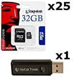 25 PACK   Kingston 32  GB MicroSD HC Class 4 TF MicroSDHC TransFlash Memory Card SDC32 32  GB 32G 32   GB GIGS M.A32.RTx25.550 LOT OF 25 with USB SoCal Trad available at Amazon for Rs.36063