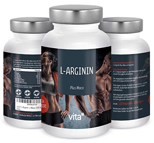 vita² L-Arginin 1600 mg + Maca 4800 mg, 120 vegane Kapseln mit Zink, Spirulina, Hafer, Traubenkernextrakt – hochdosiert und rein – Premiumqualität made in Germany