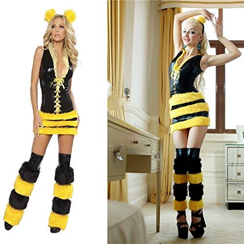 Sexy Kostüme Damen Biene (Gorgeous Halloween-Cosplay Biene gelbe Lackleder)