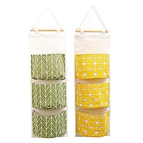 2-licht-wand-tasche (Venga amigos 2er Hängender Organizer Wand Hängetasche mit 3 Taschen Hängeaufbewahrung Aufbewahrungstasche für Kinderzimmer Badezimmer Schlafzimmer Büro)
