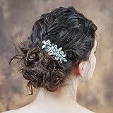 ULAPAN Hochzeit Haarkamm Mit Perlen,Kristall Braut Haarkamm Mit Blumen,Goldenem Und Silbrigem Braut Haarkamm Für Hochzeit (HP88)