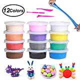 Air Dry Clay, Swallowzy 12 Colors Floam Slime Stress Relief No Borax Kids Toy Sludge Toys Ultra Light Modeling Dough Magic Clay