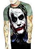 KIRALOVE T-Shirt Uomo Joker - Dark Knight - 3D - Maniche Corte - Divertenti - Maglia - Maglietta - Ragazzo - Travestimento - Halloween - Colore Multicolore - Taglia XXL
