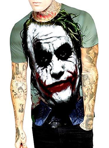 KIRALOVE - Camiseta de Hombre Joker - Dark Knight - 3D - Mangas Cortas - Divertidas - Camiseta - Niño - Disfraz - Halloween - Color L