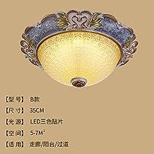 Cttsb Plafón de estilo europeo luz de la habitación redonda simple europea sala de estar luces del pasillo llevó luces de porche de iluminación, lámparas americanas, b35cm parches de tres colores