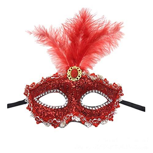 Xinwcanga Prinzessin Juwel Spitze Feder Augen Maske Masquerade Mask für Halloween Maskentanzabend Party (Rot, One size)