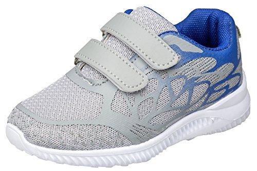 gibra Sportschuhe Sneaker für Babys und Kleinkinder, Art. 2927, Sehr Leicht, mit Klettverschluss, Grau/Blau, Gr. 24 (Sportschuhe Kleinkinder)