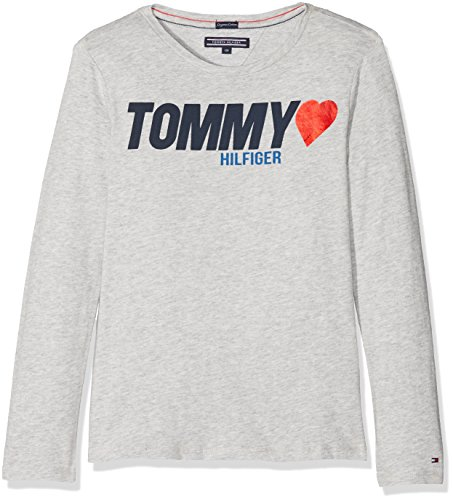 Tommy Hilfiger Mädchen AME Tommy Heart Tee L/S T-Shirt, Grau (Light Grey Htr 061), 122 (Herstellergröße: 7)