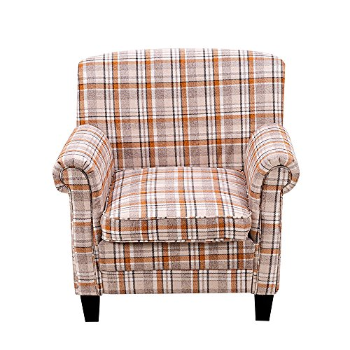 Britoniture Tartan Fabric Armchair Country Style Accent Chair Living Room Office Orange