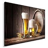 Feeby Frames, Cuadro en lienzo, Cuadro impresión, Cuadro decoración, Canvas de una pieza, 50x70 cm, CERVEZA, ALCOHOL, BARRIL, JARRA, CRISTAL, CULINARIA, RÚSTICO
