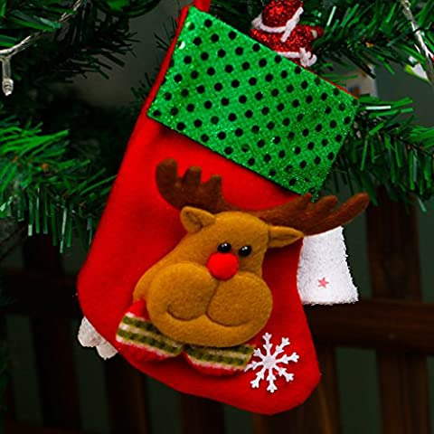 QHGstore Weihnachtsbaumschmuck Hang Weihnachtsgeschenk Weihnachtsstrümpfe Elch (Süßigkeiten, Christbaumschmuck)