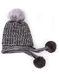 Gwell Femme Bonnet Tricoté 3 Pompons en Laine Polaire Chapeau Chaud Hiver  Protection Oreilles ff2b062e040