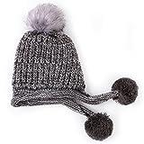 GWELL Damen Süß Strickmütze Wintermütze Mütze mit Ohrenklappen Zöpfen Bommel Fleece Innenfutter Onesize Grau