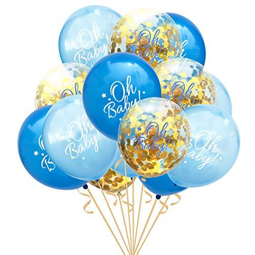 fetti Luftballon Set Oh Baby! für Baby Shower Baby Party Deko Feier zur Geburt eines Jungen Blau Gold ()