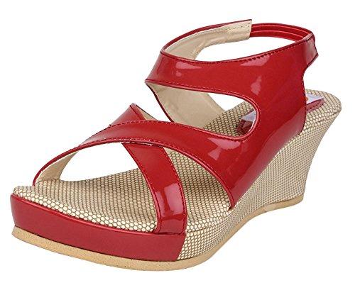 Digni la mode plate-forme de coin glisser sur les sandales de femmes occasionnels Rouge avec beige
