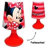 Unbekannt LED Tischlampe -  Disney - Minnie Mouse  - mit Farbwechsel - Batteriebetrieben - SCHNURLOS & Kabellos - 19 cm hoch - Tischleuchte für Kinder / Nachtlicht Sc..
