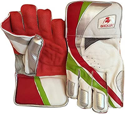 Auténtica piel de Cricket guantes, Test estándar, pulpo de goma tamaño de la palma de la mano, los hombres