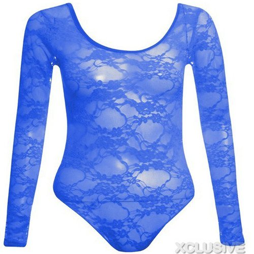 neuen Frauen plus size floral Langarm Trikot Spitzeoberseiten Royal Blue