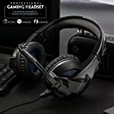 Amicool [Updated Version] Gaming Headset for PS4/XBox One, Stereo Bass Surround/Noise Reduction/Volume Control/Over-Ear Gaming Headphone with Mic for Laptop PC Mac Computer and Smartphone
