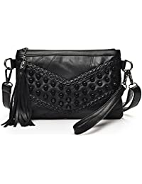 MagiDeal Vintage Lady Girls Soft PU Leather Satchel Square Crossbody Bag with Tassel